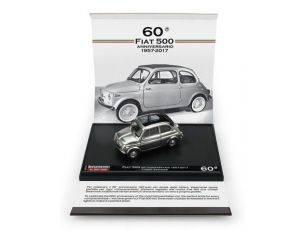 Brumm BMS1727 FIAT 500 60° ANNIV.1957-2017 CON CRISTALLI SWAROSKI INCAST.NEI FARI 1:43 Modellino