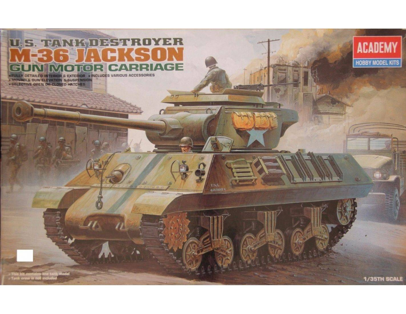 ACADEMY 1395 U.S. TANK DESTROYER M-36 JACKSON GUN MOTOR CARRIAGE 1:35 Kit Modellino