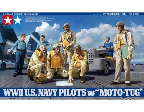 TAMIYA 61107 WWII US NAVY PILOTS MOTO-TUG 1:48 KIT  Modellino