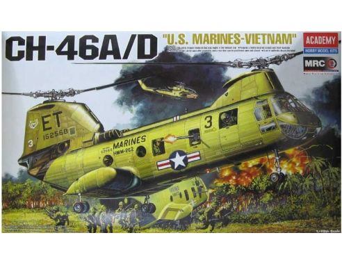 ACADEMY 12210 CH-46A/D US MARINES VIETNAM 1:48 Kit Modellino