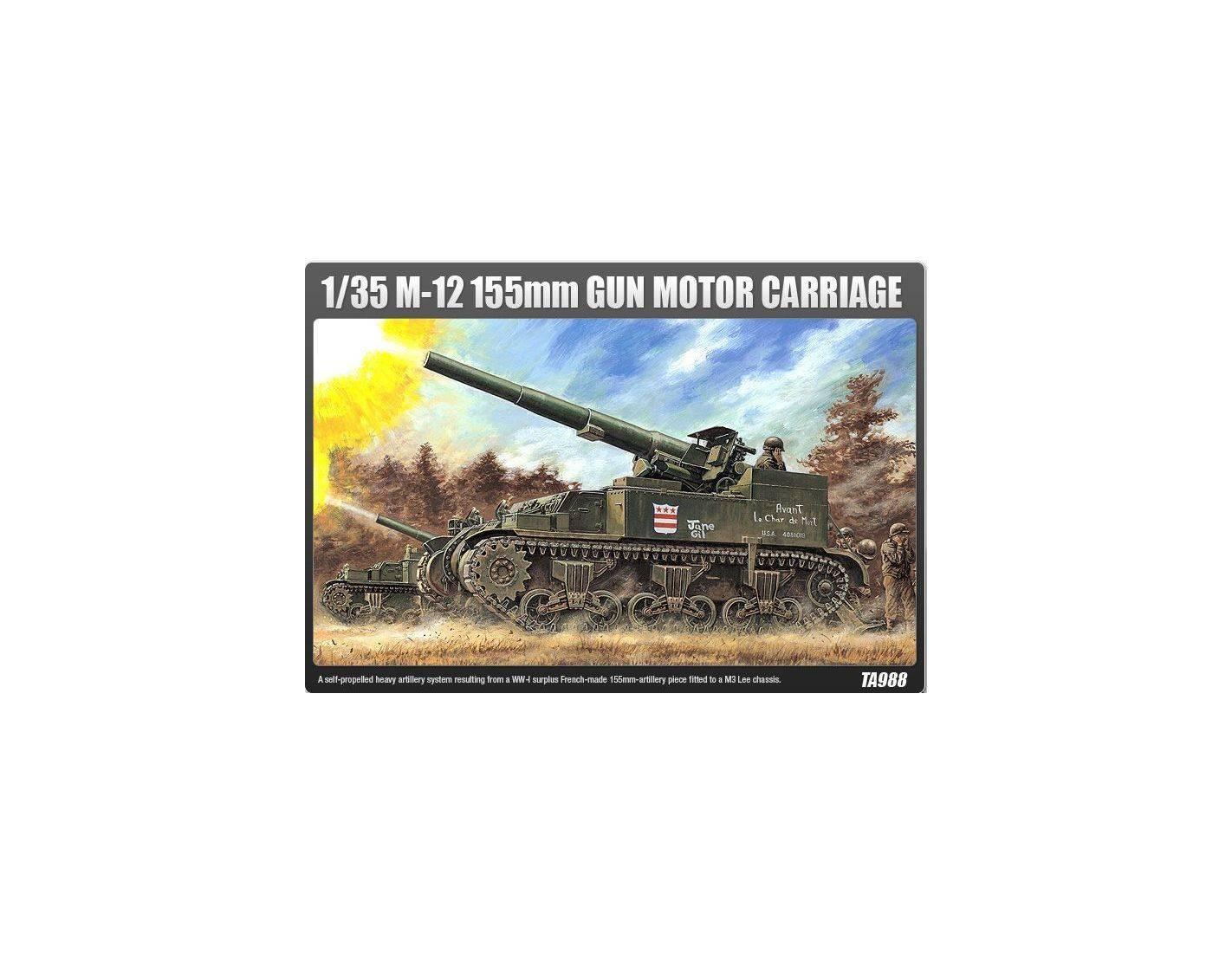 ACADEMY 1394 M-12 155MM GUN MOTOR CARRIAGE 1:35 Kit Modellino