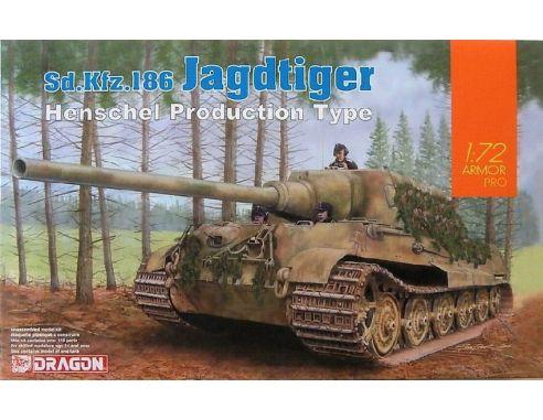 Dragon D7563 SD.KFZ.186 JAGDTIGER (HENSCHEL PRODUCTION TYPE)  KIT 1:72 Modellino