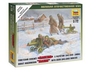 Zvezda Z6220 SOVIET MACHINE GUN W/CREW 1941-43 (WINTER) KIT 1:72 Modellino