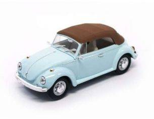 Hot Wheels LDC43221LB VW BEETLE CABRIO SOFT TOP 1972 LIGHT BLUE/BROWN 1:43 Modellino