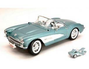 Hot Wheels LDC92018BL CHEVROLET CORVETTE 1957 LIGHT METALLIC BLUE 1:18 Modellino