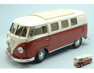 Hot Wheels LDC92328BG VW MICROBUS 1962 BURGUNDY W/WHITE ROOF 1:18 Modellino