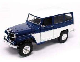 Hot Wheels LDC92858WB WILLYS JEEP BLUE/WHITE 1:18 Modellino