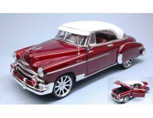 Motormax MTM79007R CHEVROLET BEL AIR CUSTOM HOT ROD WITH NEW RIMS RED 1:18 Modellino