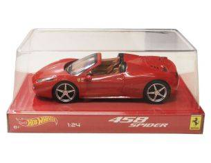 Hot Wheels HWBLY64 FERRARI 458 ITALIA SPIDER RED SCAT.ACETATO RED 1:24 Modellino