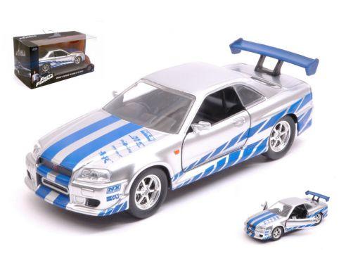 JADA TOYS JADA97184 BRIAN S NISSAN SKYLINE GT-R (R34) 2002 FAST & FURIOUS 7 SILVER/BLUE 1:32 Modellino