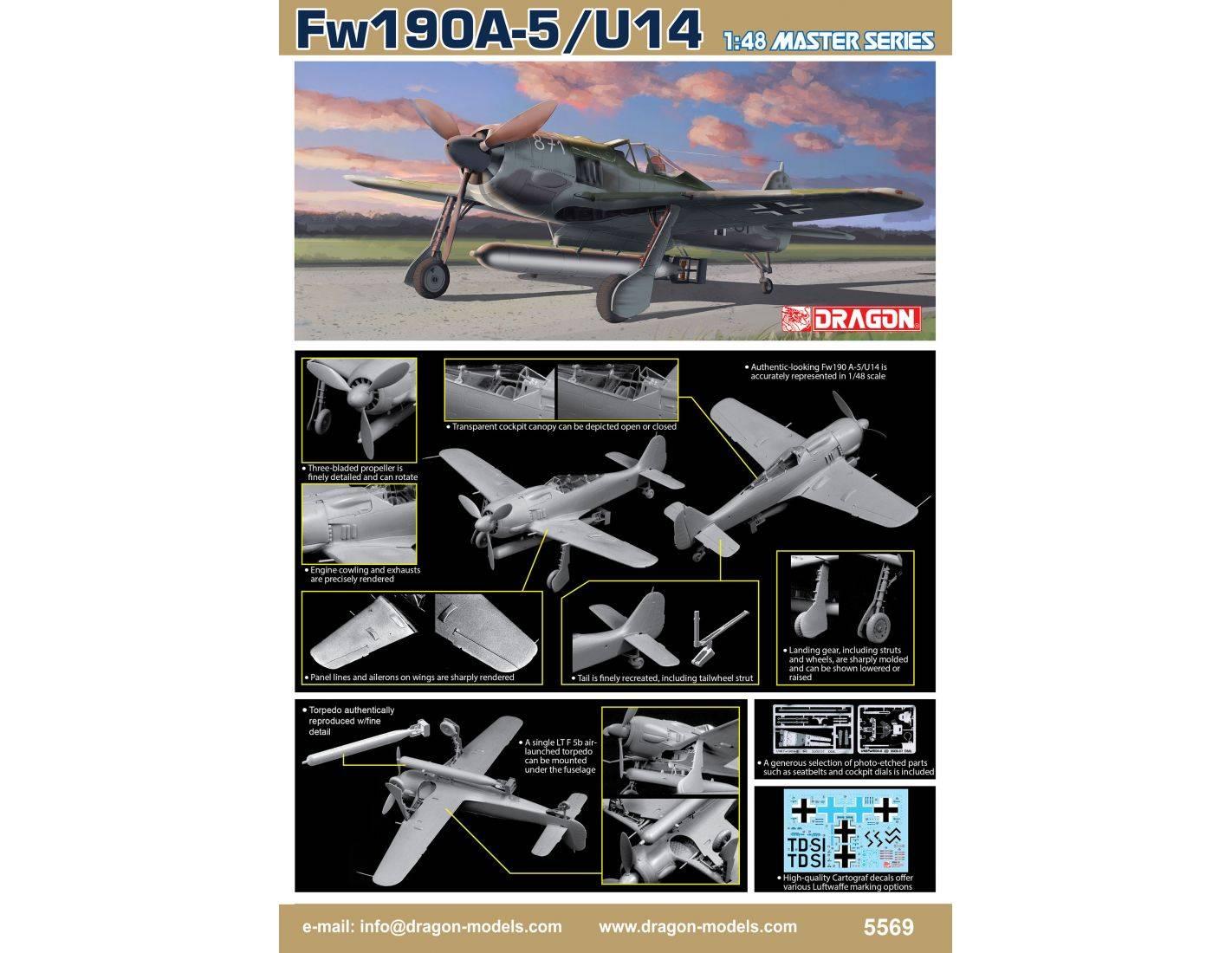 Dragon D5569 Fw190A-5/U-14 KIT 1:48 Modellino