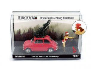 Brumm BMS1735C FIAT 500F BABBAZZA NATALE AUTOSTOP 2017 (CASTANA) 1:43 Modellino