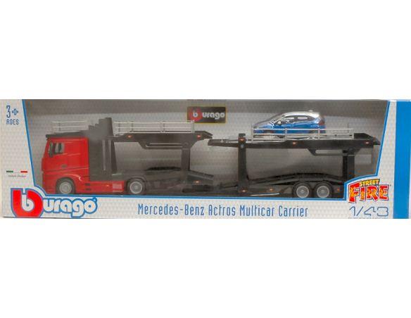 Bburago BU31456R MERCEDES ACTROS 2545 BISARCA RED W/RENAULT CAPTUR 1:43 Modellino