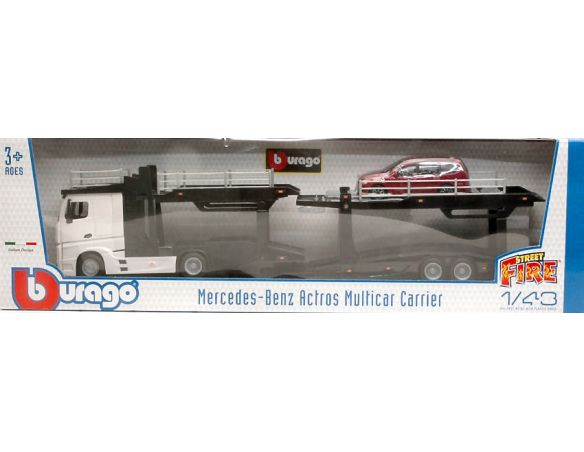 Bburago BU31456W MERCEDES ACTROS 2545 BISARCA WHITE W/FORD FOCUS 1:43 Modellino