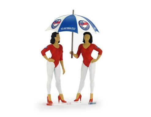 Brumm BMF097 PADDOCK GIRLS SET 2 GIACOBAZZI GIRLS - LAMBRUSCO TEAM + OMBRELLINO Modellino