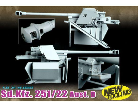Dragon D6248 251/22 D W/PAK 40 7,5 cm SD KFZ KIT Modellino