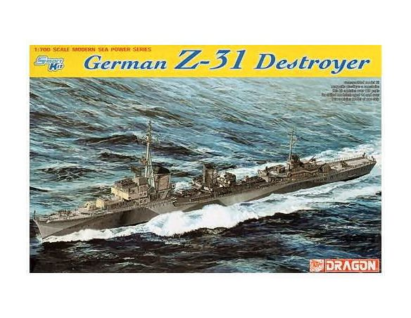 Dragon D7126 GERMAN Z-31 DESTROYER KIT 1:700 Modellino