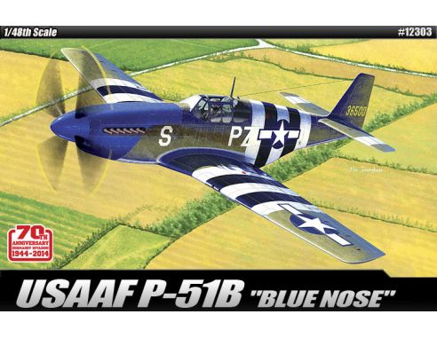 ACADEMY ACD12303 USAAF P-51B BLUE NOSE KIT 1:48 Modellino