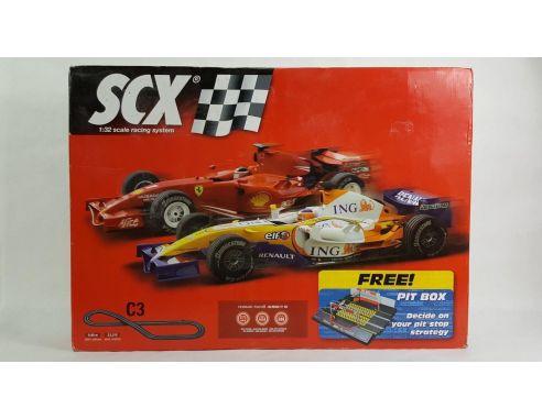 SCX 81030 Circuito C3 F1 Ferrari V Renault con Pit Stop 1:32 scatola rovinata