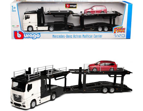 BBURAGO BU31459 PORTAUTO MERCEDES ACTROS 2545 WHITE + FORD FOCUS 1:43 Modellino