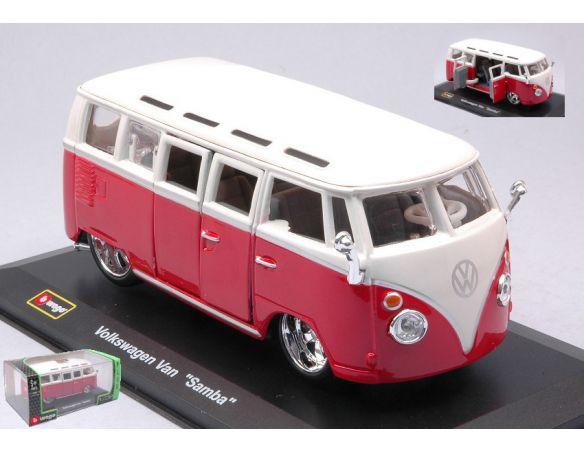 BBURAGO BU42004RW VW T1 SAMBA VAN RED/WHITE 1:32 Modellino