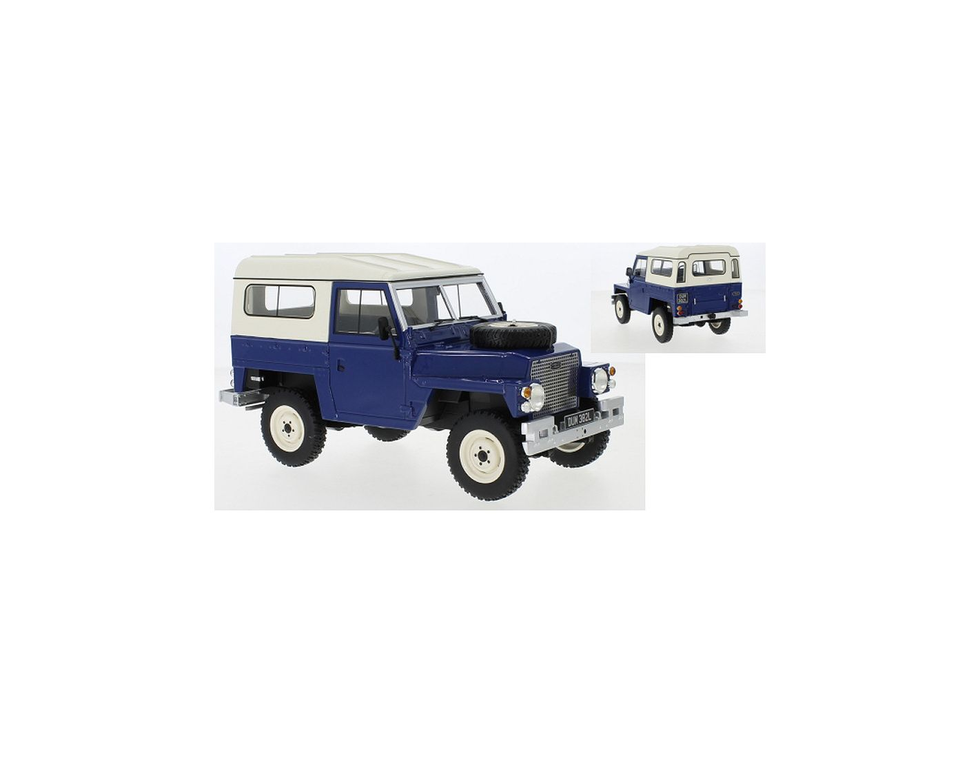 BOS 1//18 Land Rover Light weight Series III 1973 blue /& white BOS382 Resin Model