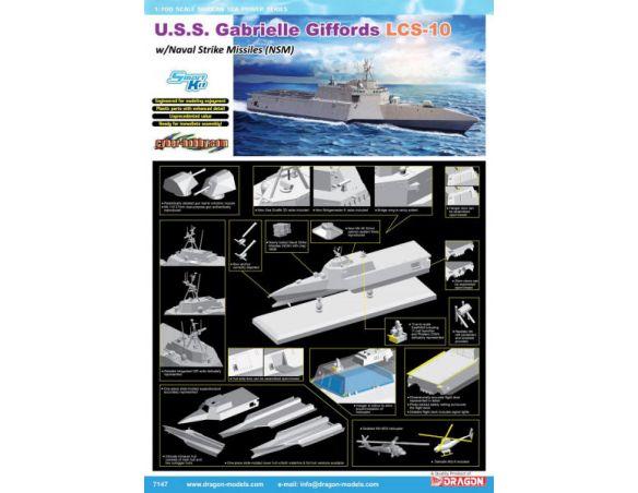 DRAGON D7147 U.S.S.GABRIELLE GIFFORDS LCS-10 W/NSM KIT 1:700 Modellino