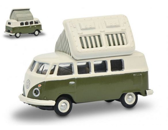 SCHUCO SH26604 VW T1c CAMPINGBUS GREEN/WHITE 1:87 Modellino